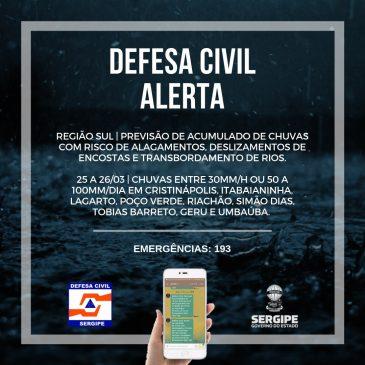 Defesa Civil informa perigo de deslizamentos e transbordamento de rios na região Sul